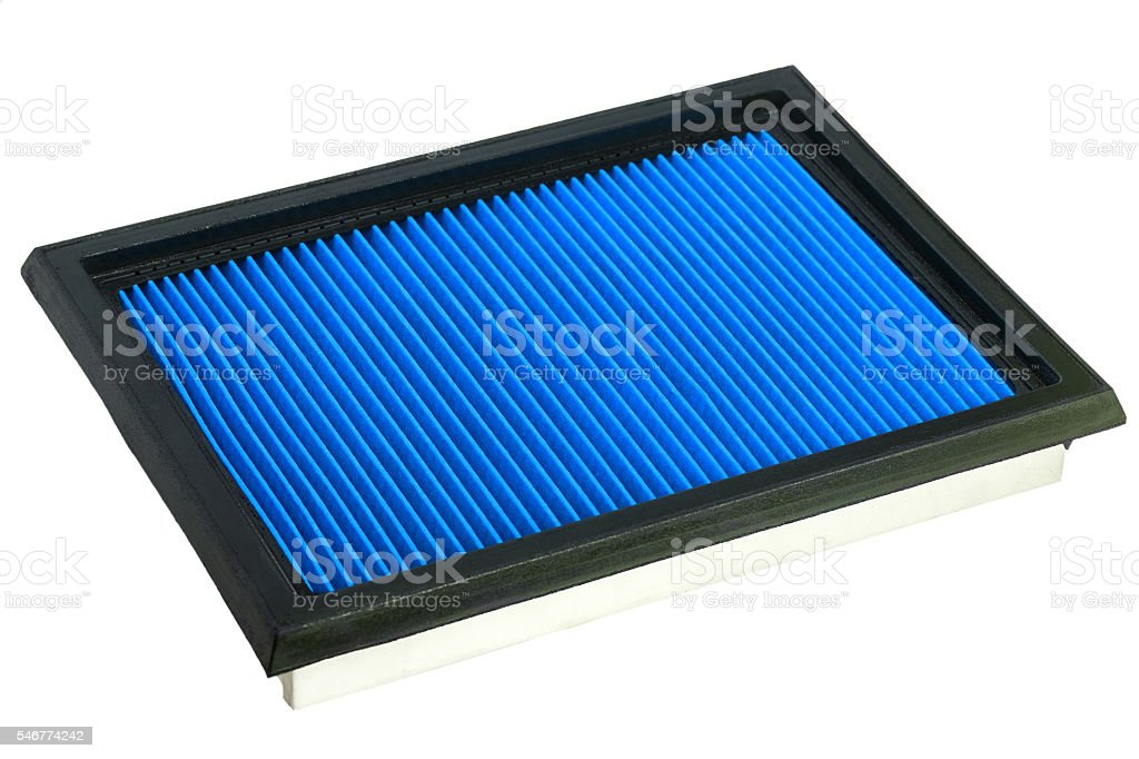 Blue Flat engine air filter. stock photo