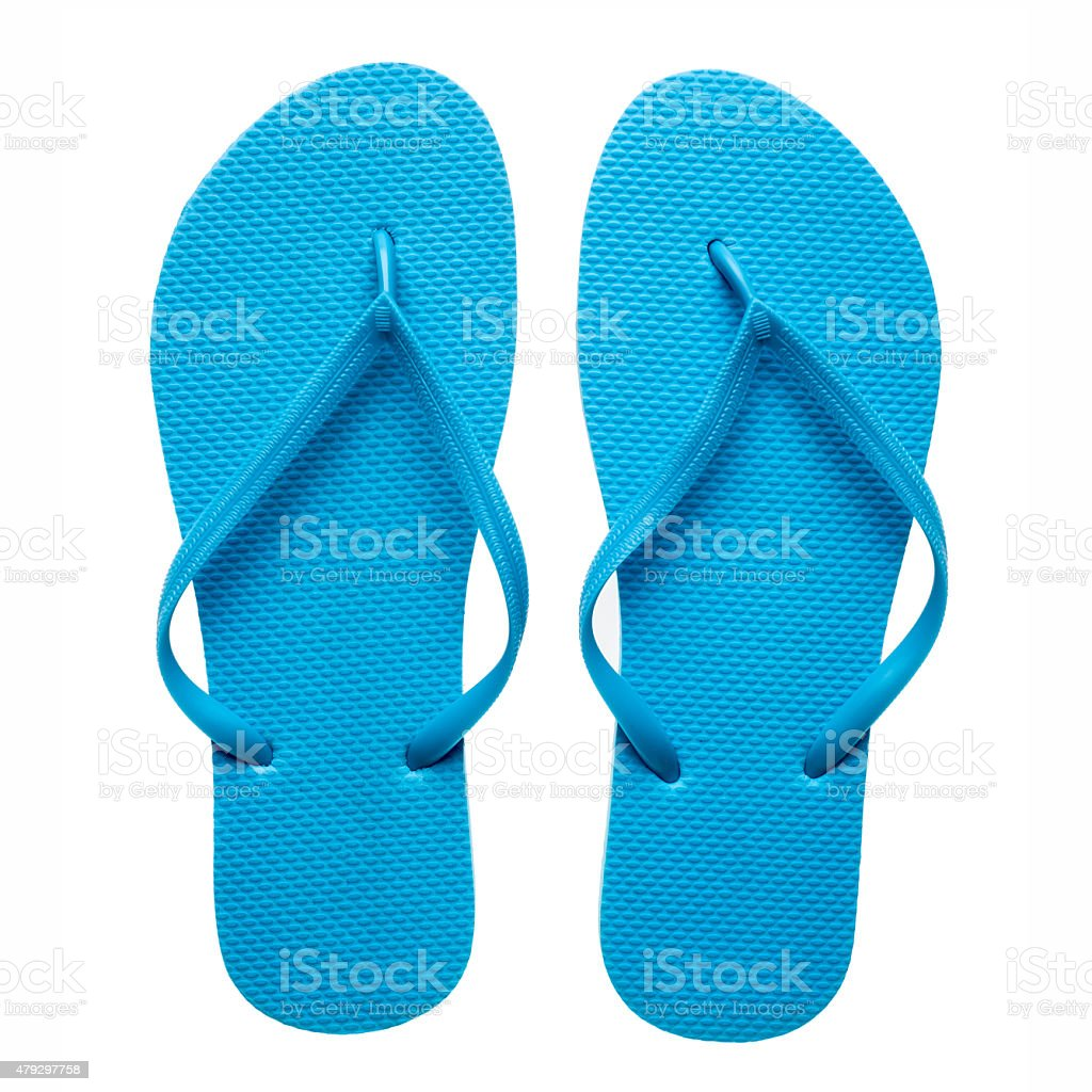 Blue flip-flops isolated stock photo