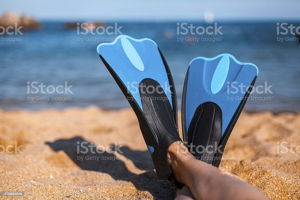 blue flippers on sand stock photo