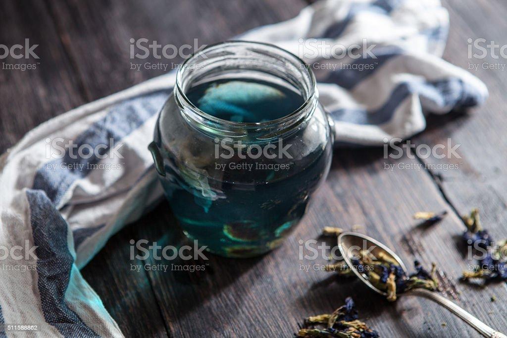 Blue floral Thai tea stock photo