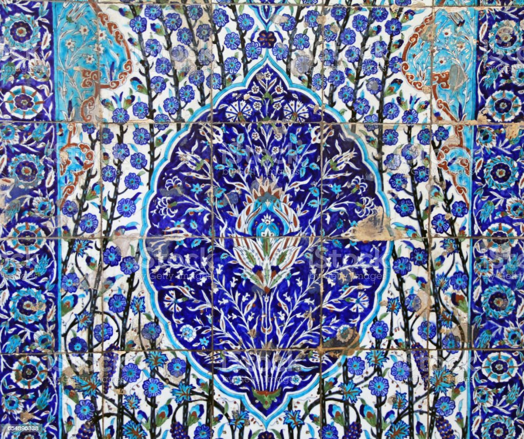Blue Floral Tile Floor Found in Israel stock photo