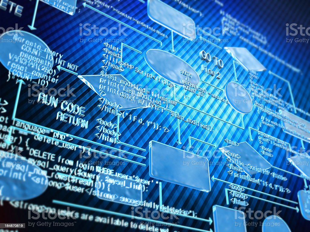 Blue flow chart and random generated code stock photo