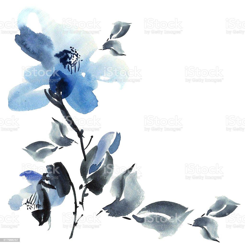 Blue flowers illustration stock photo