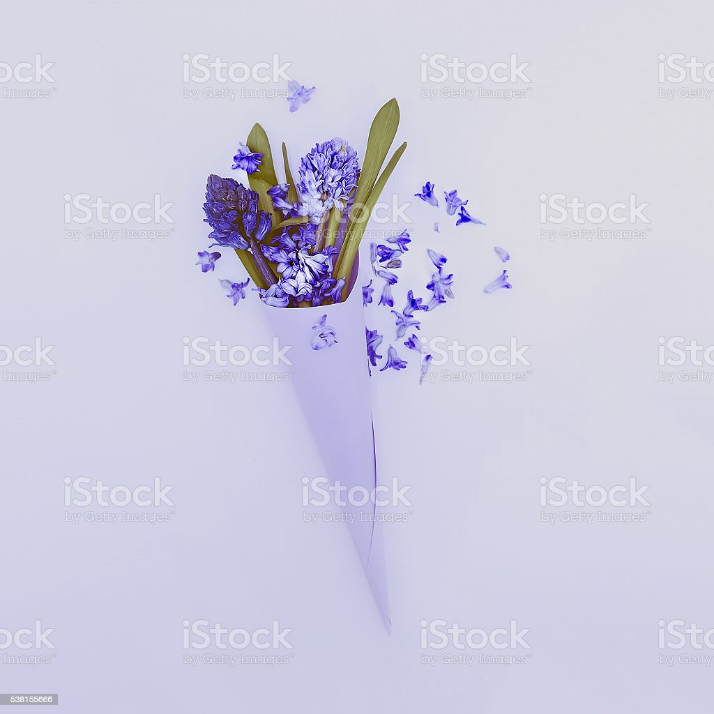 Blue flowers in paper envelope. Love to detail. Minimalism style stock photo