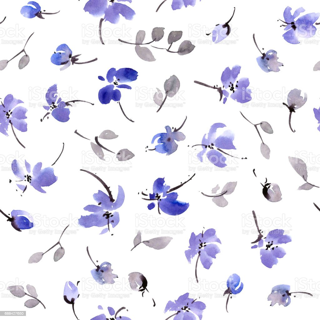 Blue flowers pattern stock photo