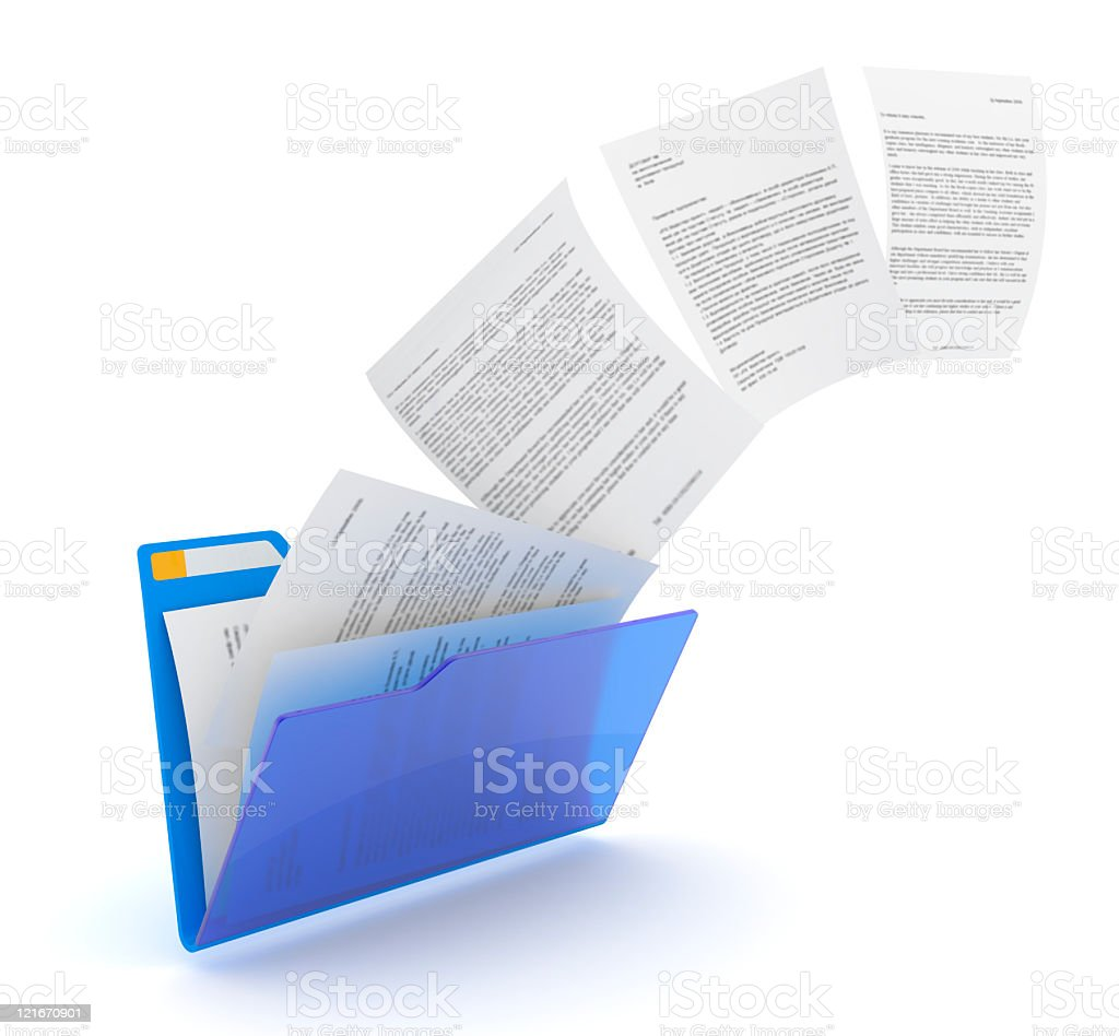 A blue folder with documents uploading stock photo