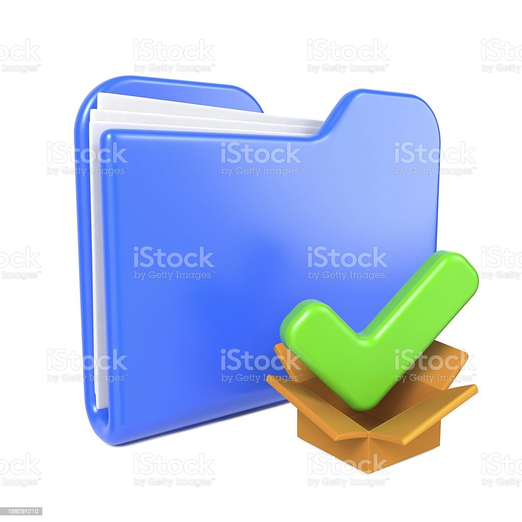 Blue Folder with Green Check Mark. royalty-free stock photo