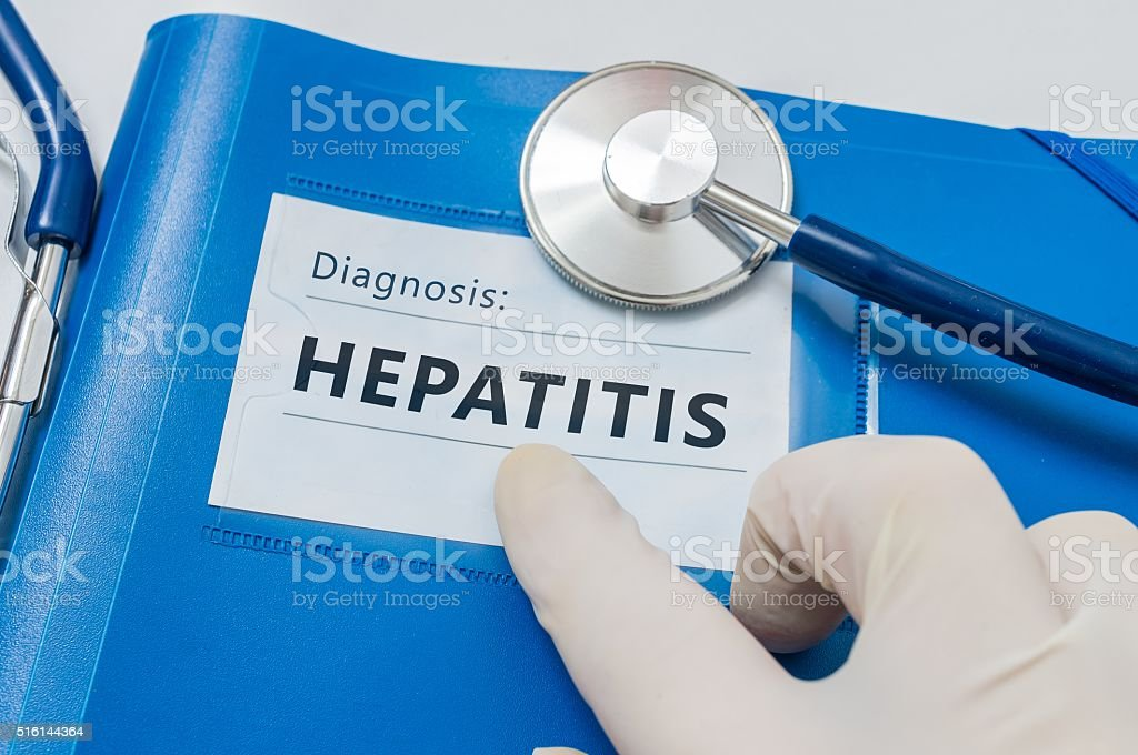 Blue folder with Hepatitis C diagnosis. stock photo