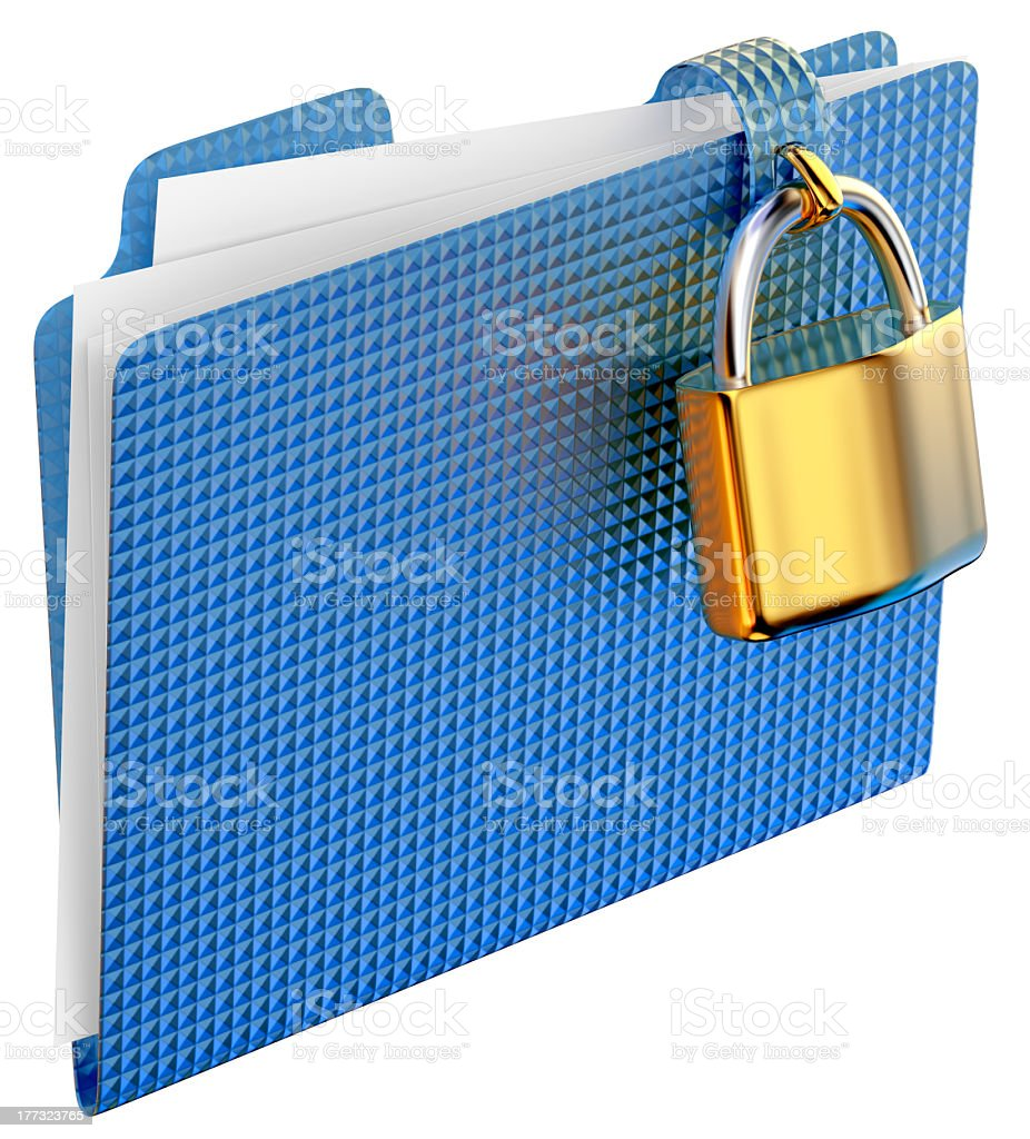Blue folder with papers locked with golden hinged lock royalty-free stock photo