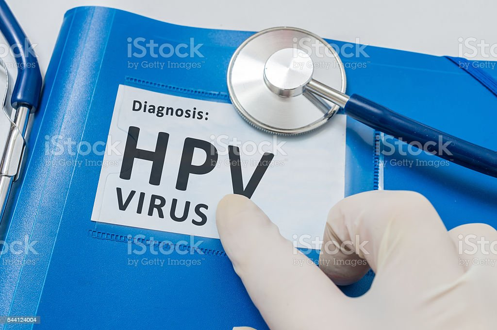 Blue folder with patient files with HPV virus diagnosis. stock photo