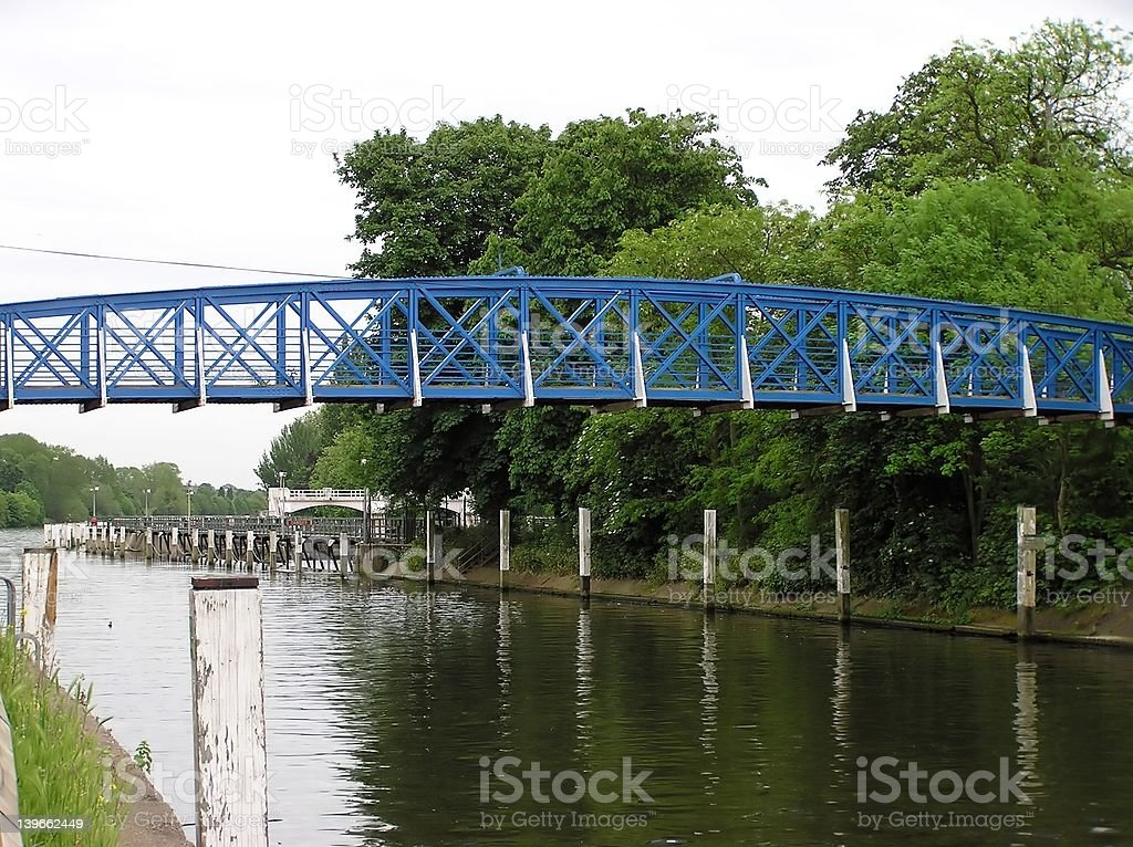 Blue Footbridge stock photo