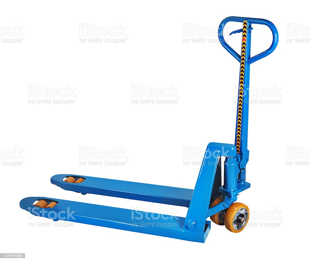 Blue fork hand pallet truck, isolated on white background. stock photo