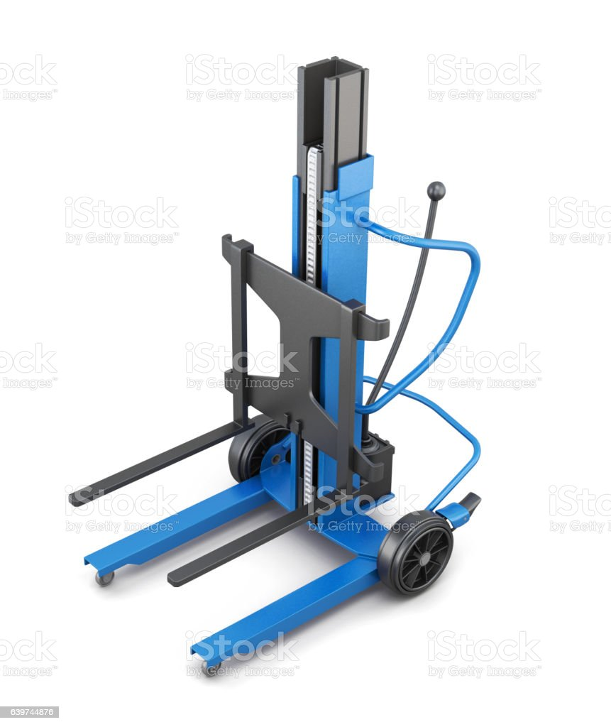 Blue forklift. 3d illustration. stock photo