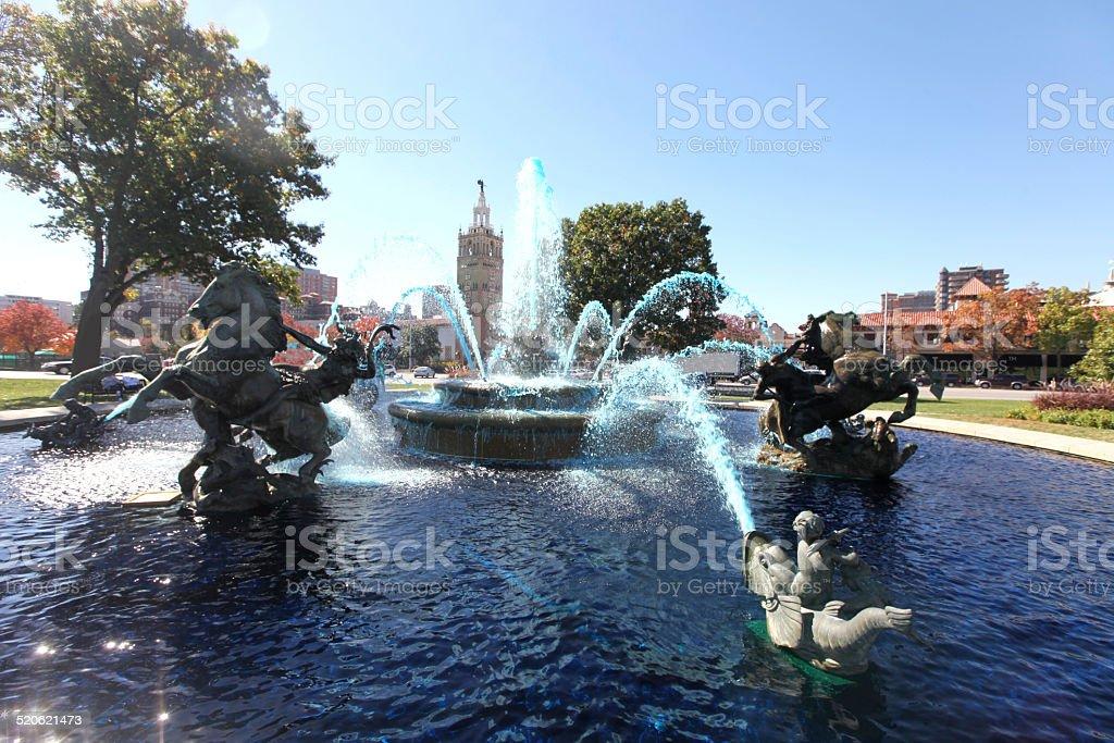 Blue Fountain stock photo