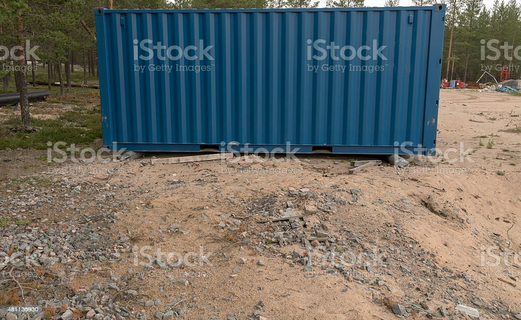 Blue freight Container royalty-free stock photo