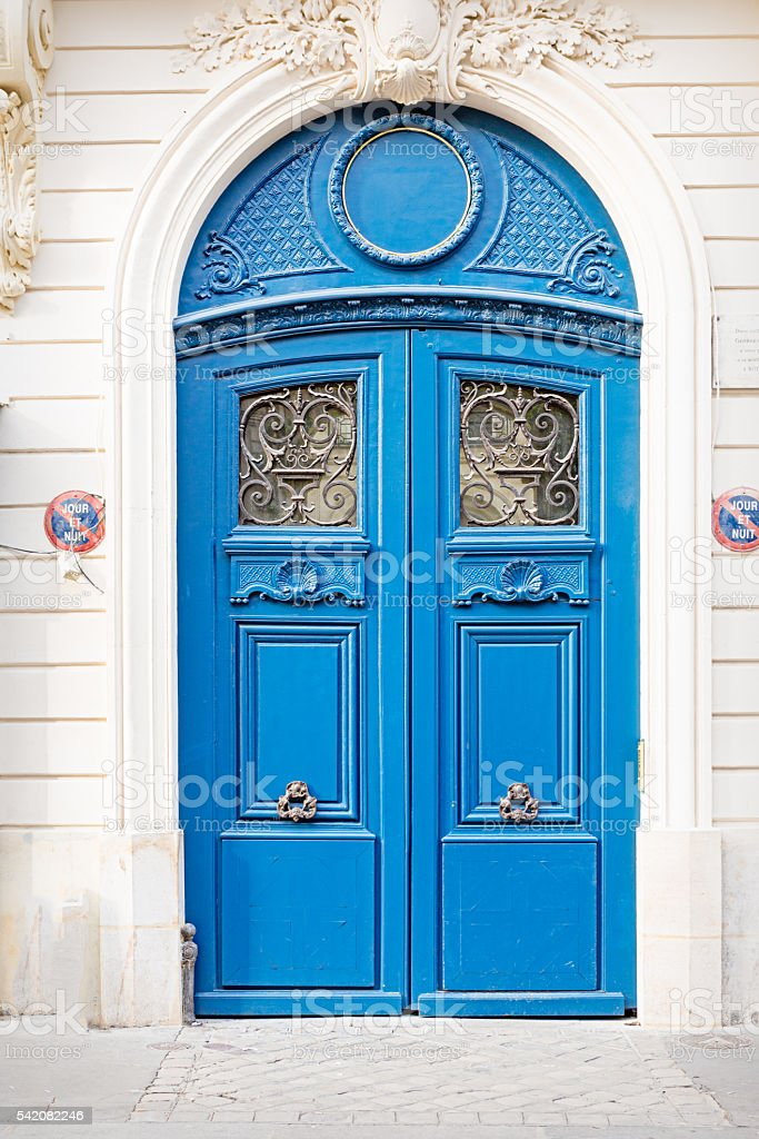 Blue French door stock photo