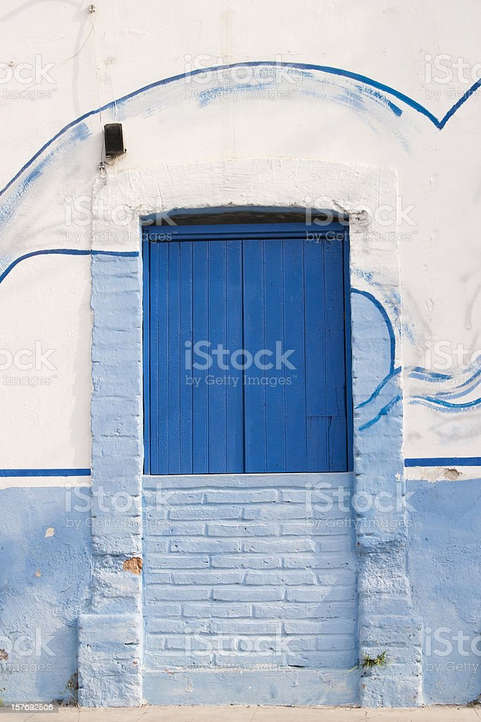 Blue Front Door, Mexico, Vertical, Vivid stock photo
