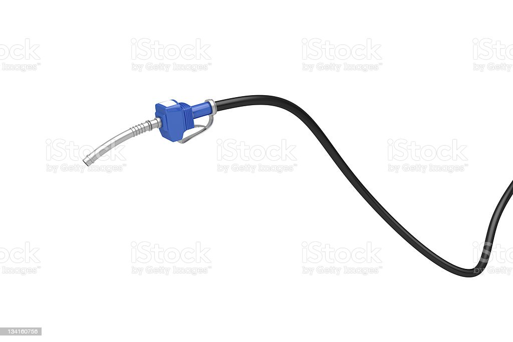 Blue fuel pump nozzle stock photo