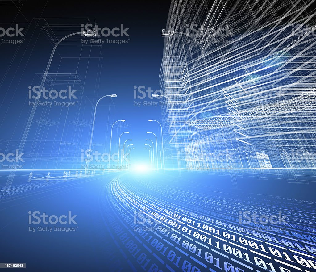 blue futuristic city street with binary code road wallpaper stock photo