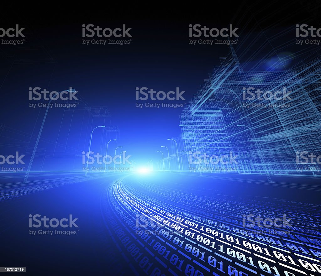 blue futuristic city street with binary code road wallpaper royalty-free stock photo