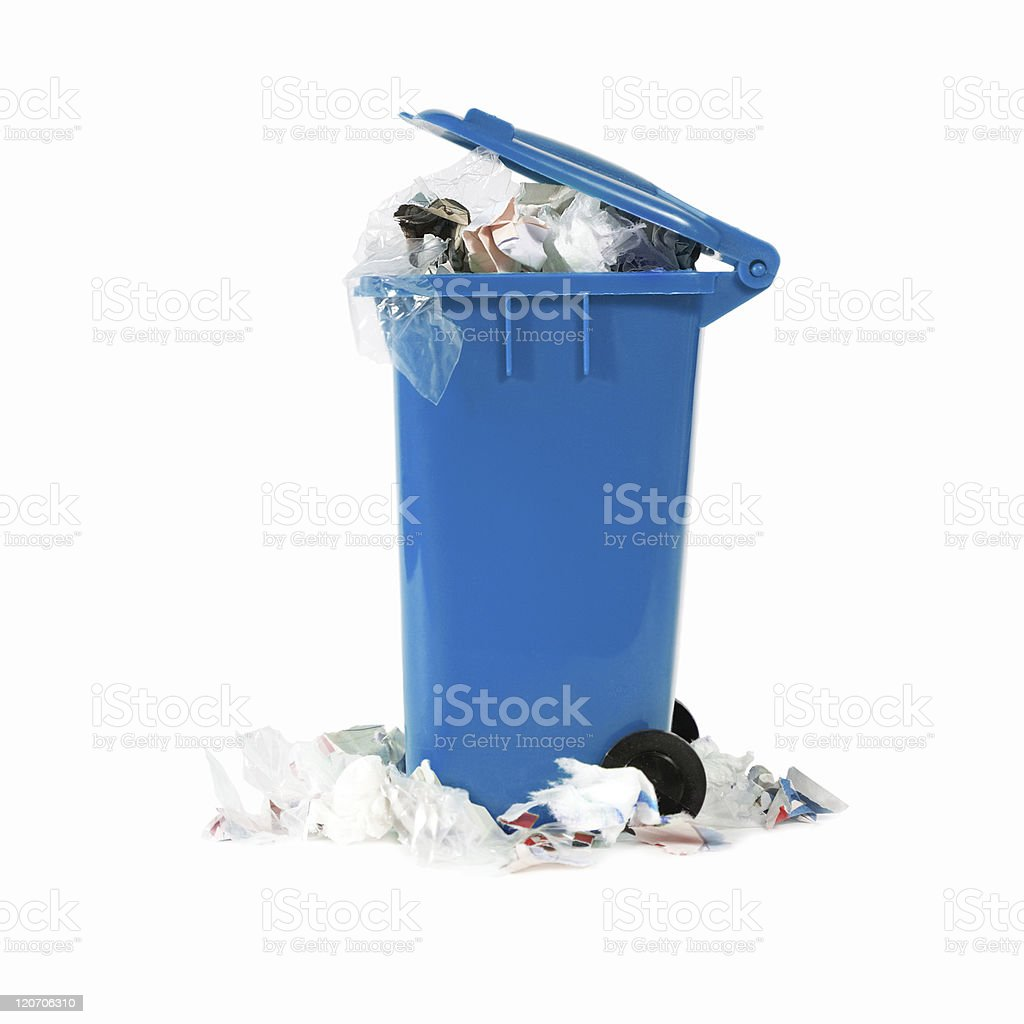 Blue garbage can overflowing with things isolated on white stock photo