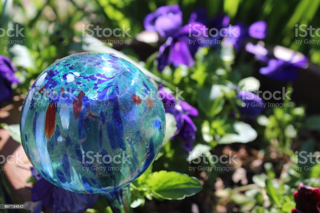 Blue Garden Ball stock photo