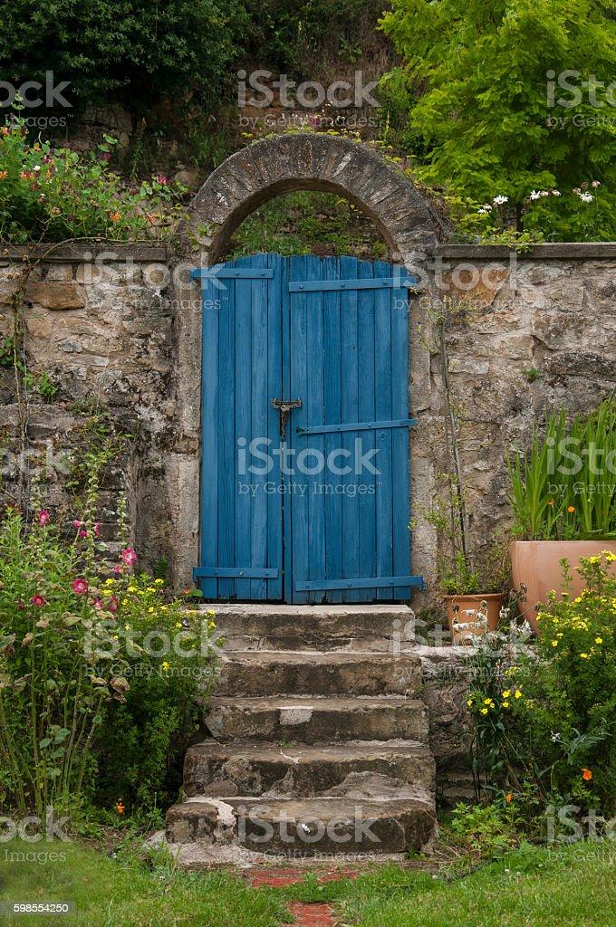 blue garden door stock photo