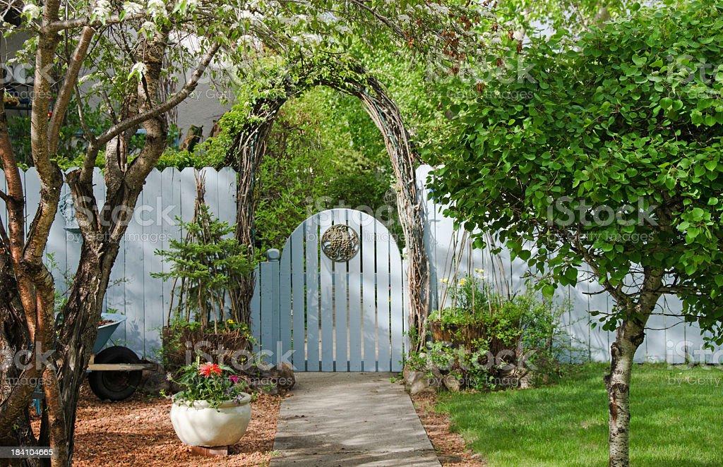 Blue Garden Gate in Spring stock photo