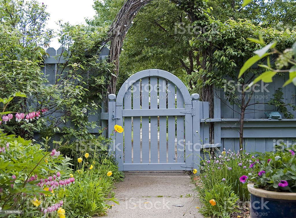 Blue Garden Gate stock photo