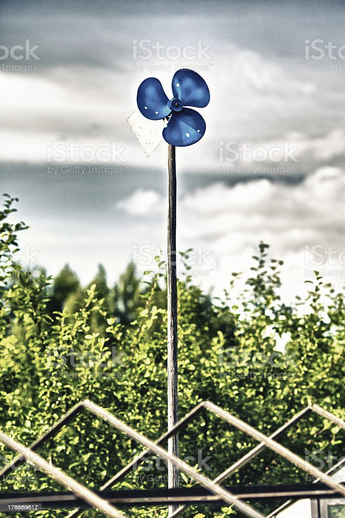 Blue Garden Windmill royalty-free stock photo
