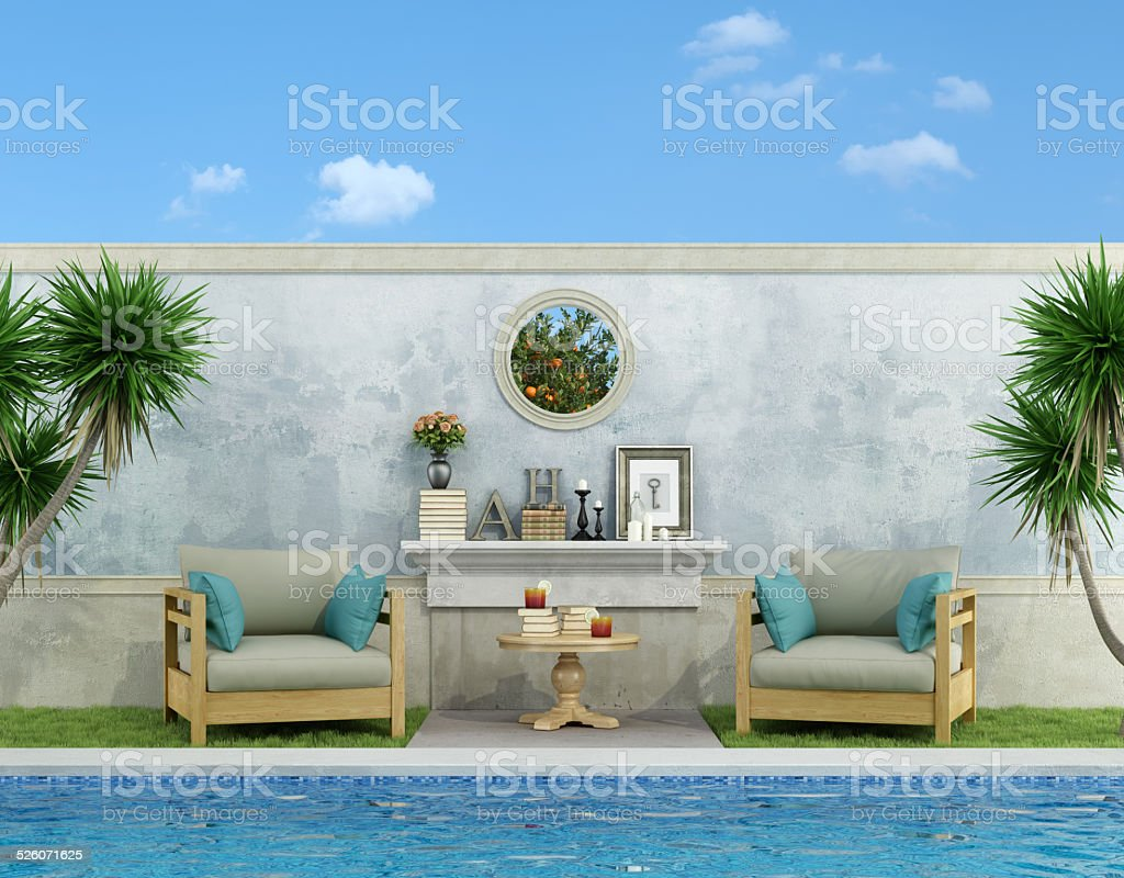 Blue garden with pool stock photo