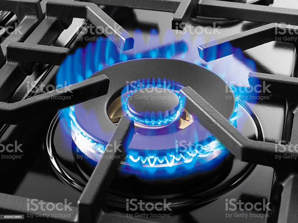 Blue gas flame stock photo