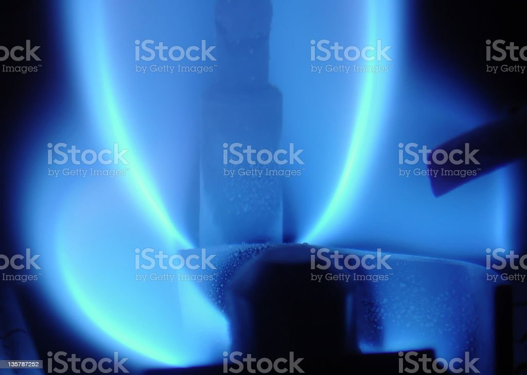 Blue gas flame with a burner light royalty-free stock photo