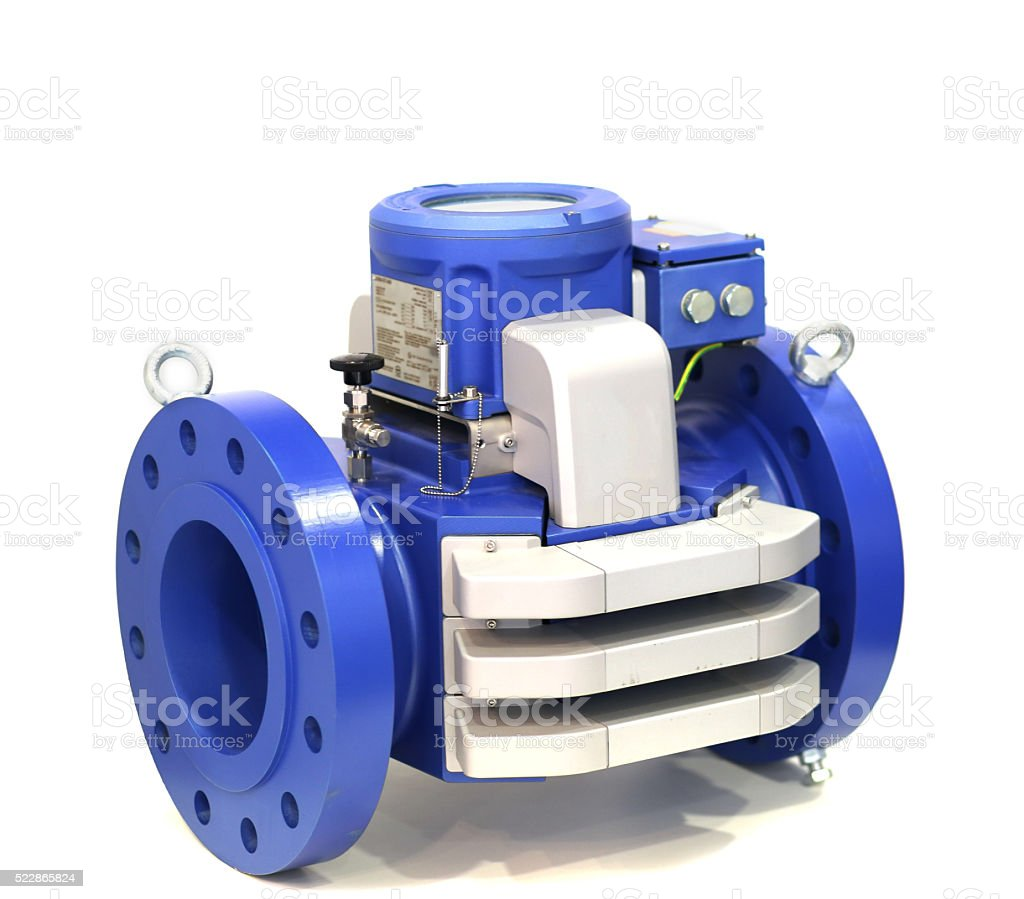 Blue gas meter isolated on white background stock photo