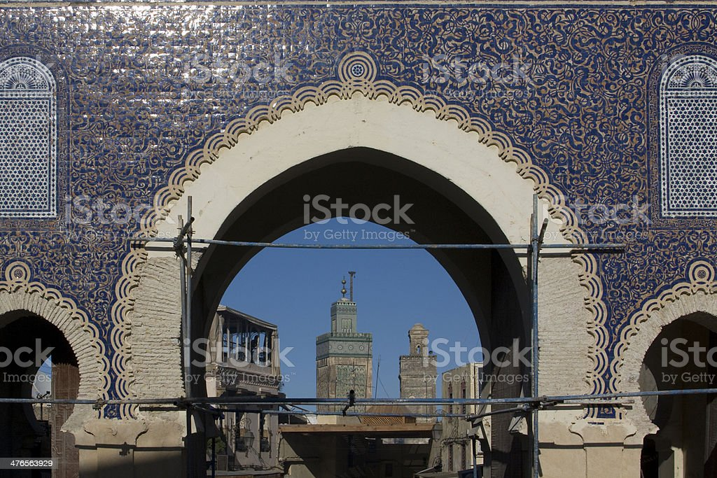 Blue Gate in Fes royalty-free stock photo