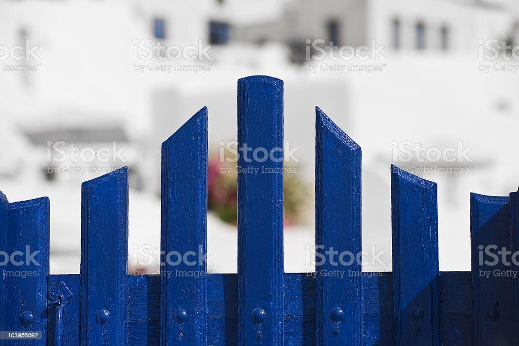 blue gate in Santorini royalty-free stock photo