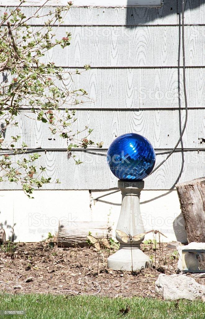 Blue Gazing Ball stock photo