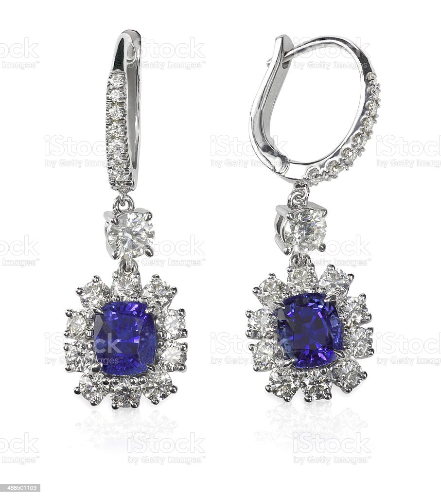 Blue Gemstone and diamond earrings stock photo