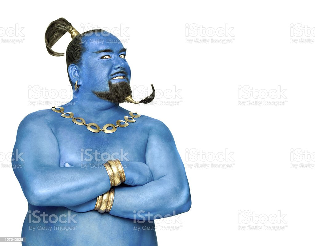 Blue genie of the lamp isolated on white with copyspace stock photo