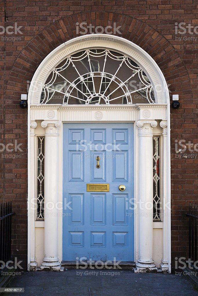 Blue Georgian Door stock photo
