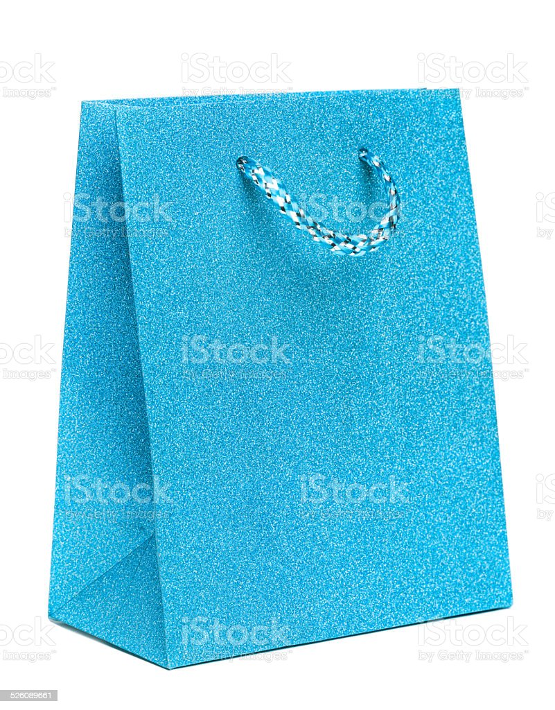Azul Sacos de Presente isolado em fundo branco foto de stock royalty-free