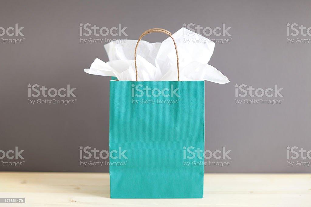 Blue Gift Bag stock photo