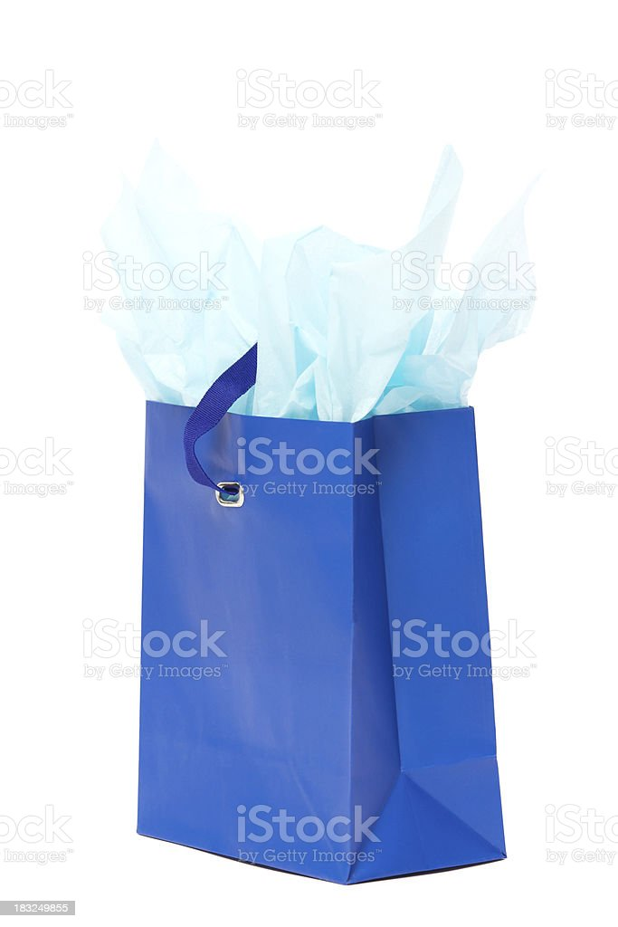 Blue gift bag royalty-free stock photo