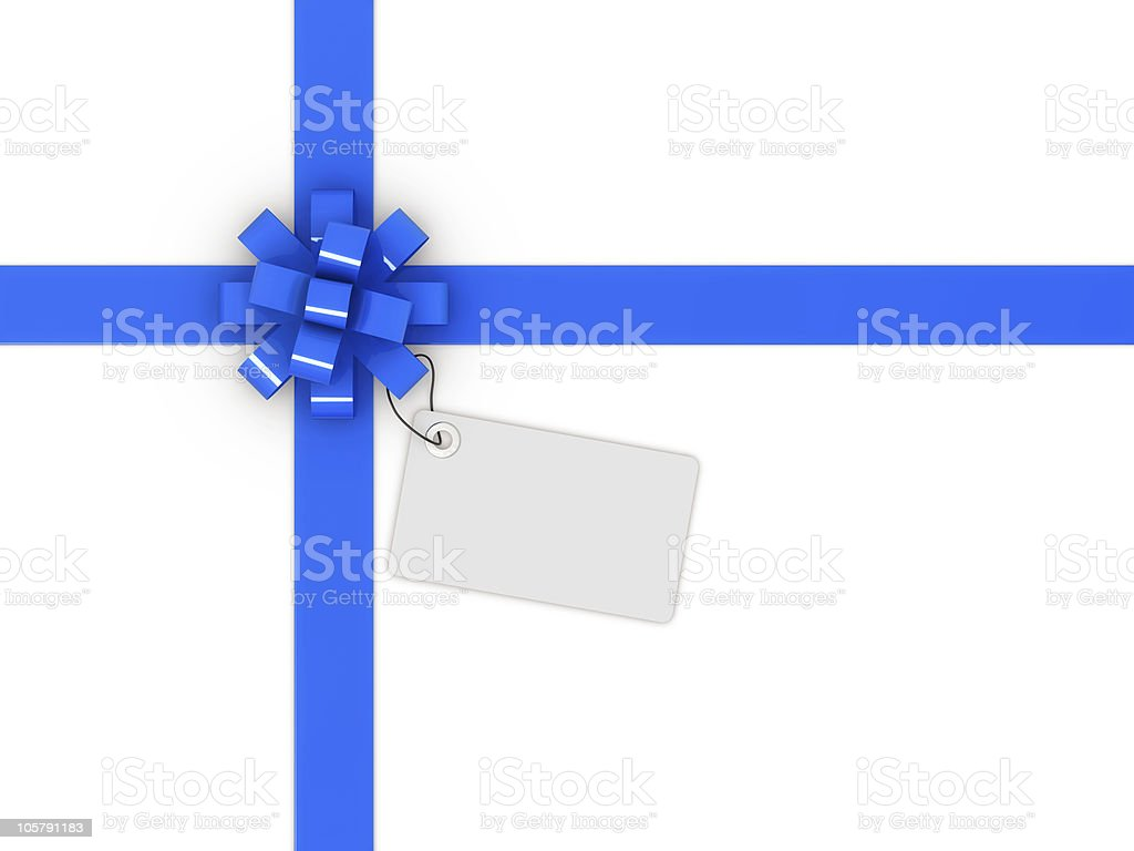 blue gift bow and tag vector art illustration