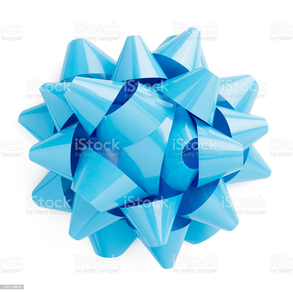 Blue gift bow ribbon isolated on a white background stock photo