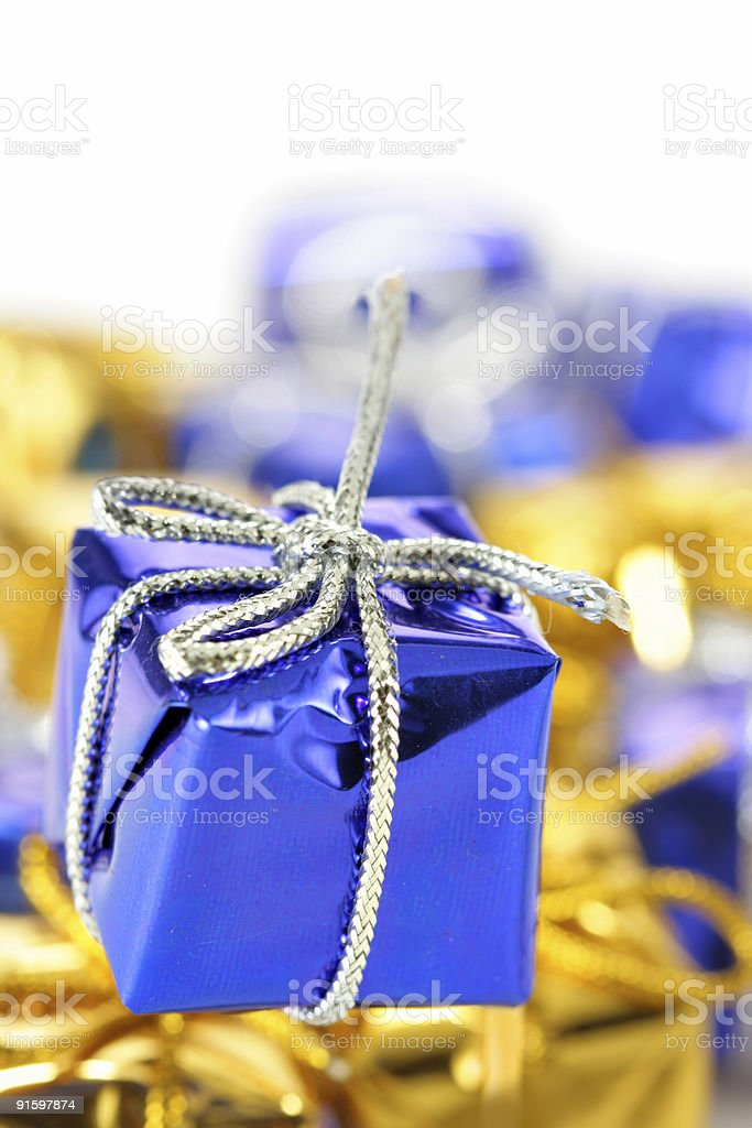 Blue gift box close-up royalty-free stock photo