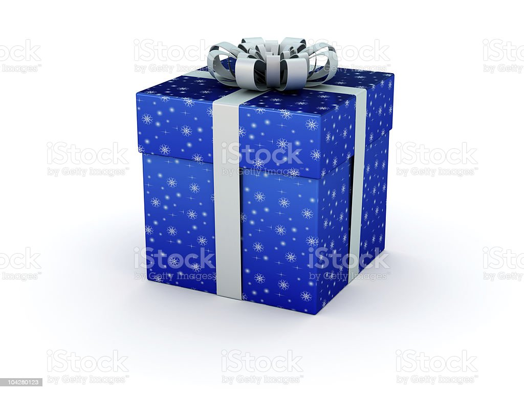 Blue gift box for New Year's and Xmas presents stock photo
