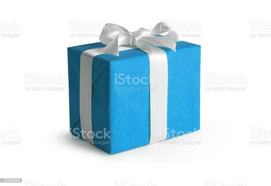 Blue Gift Box w/Clipping Path royalty-free stock photo