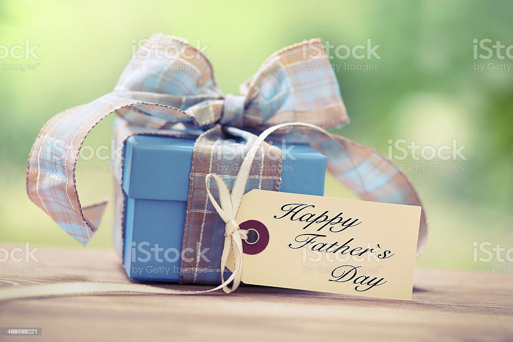 Blue gift box with fathers day card on nature background stock photo