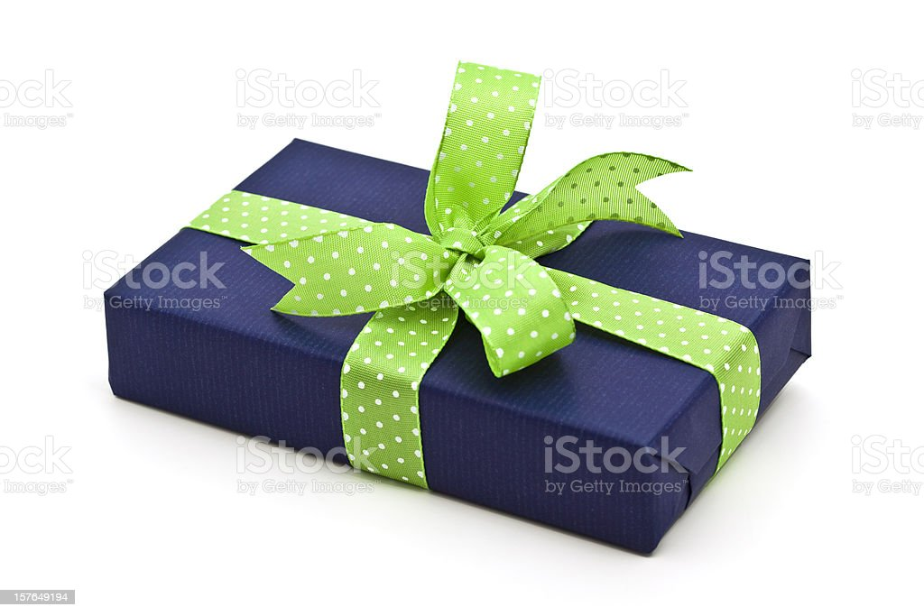 blue gift box with green bow royalty-free stock photo